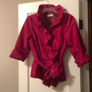 Fuchsia 3/4 sleeve top tie waisted jacket top